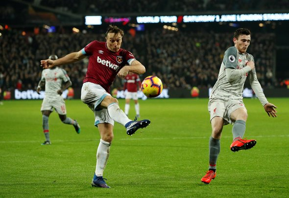 West Ham fans rave over Noble performance v Liverpool