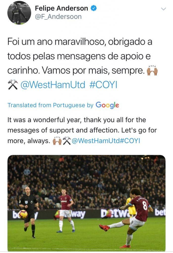 'Wonderful year' - West Ham ace sends heartfelt message to fans after thrashing Watford