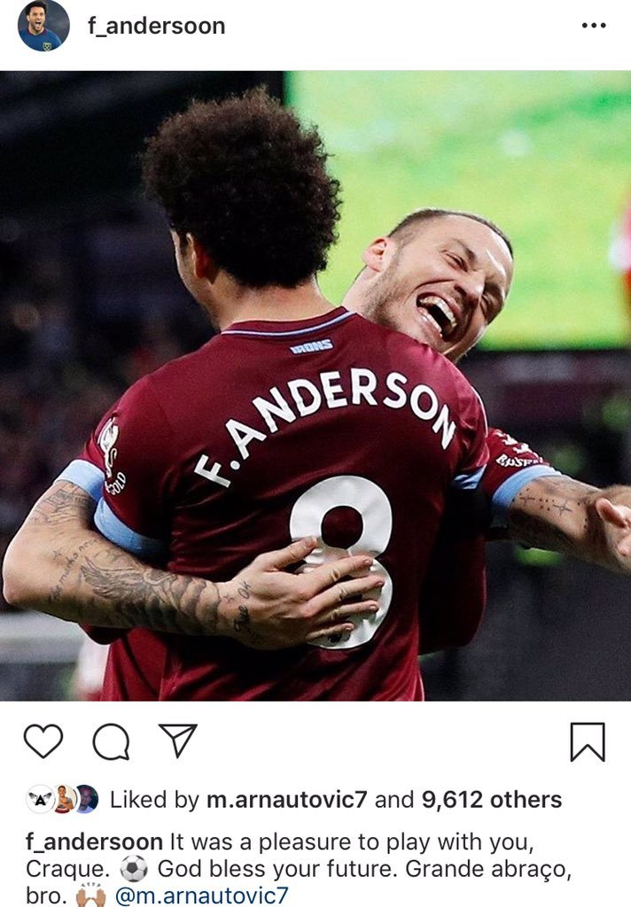 Felipe Anderson sends message to Arnautovic after his West Ham exit
