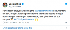 West Ham ace Rice delivers positive Twitter message to Jack Sullivan