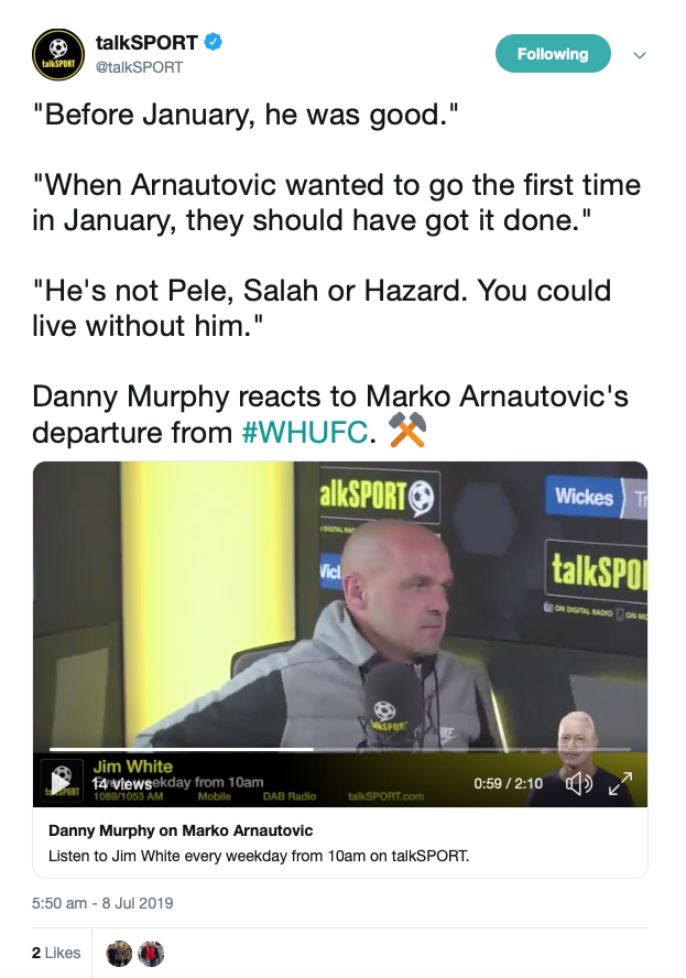 View: Danny Murphy hits nail on the head as he gives alternative take on West Ham?s Arnie saga