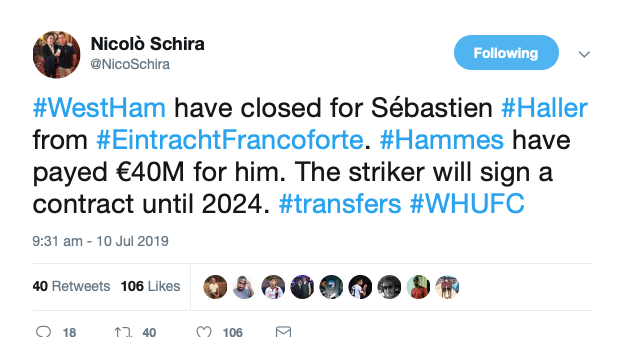 Reliable journalist: West Ham complete £36m deal for striker involved in 32 goals in 18/19