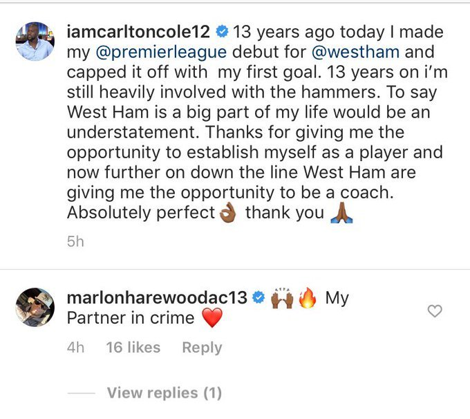 Marlon Harewood sends four-word message to Carlton Cole after he gushes about West Ham