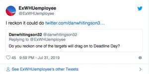 Reliable source issues deadline day prediction over West Ham