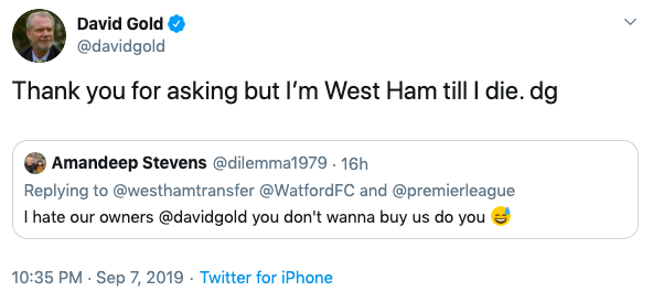 West Ham chief David Gold responds to fan proposal to take over PL rivals