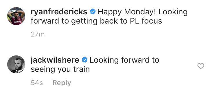 Jack Wilshere sends tongue-in-cheek Instagram message to West Ham teammate