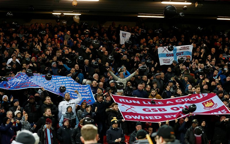 Image for West Ham fans laud fan protests at Liverpool match