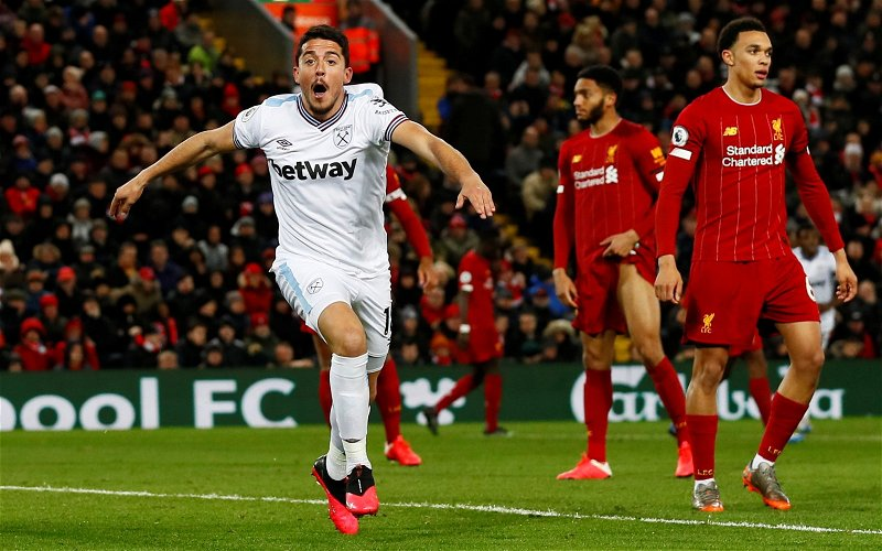 Image for West Ham fans discuss Pablo Fornals after impressive Anfield cameo